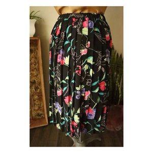 Vtg Alfred Dunner Floral Pleated Midi Skirt